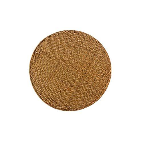 Jcnfa, tappetino isolante in paglia intrecciata a mano, sottobicchieri anti-scottatura, tovaglietta all'americana, quadrata/rotonda, Cannuccia, B, 1 pezzo