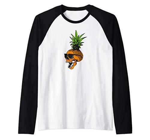 Calavera de piña con gafas, diseño tropical Camiseta Manga Raglan