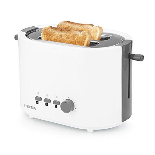 Petra Toaster mit Brötchenaufsatz - 6 einstellbare Bräunungsstufen mit herausnehmbarem Krümmelfach, TA 51.00