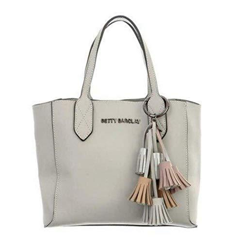 Betty Barclay Shopper Handtasche Henkeltasche Tasche grau mit Anhänger