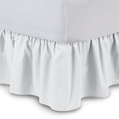 Ruffled Bedskirt (Queen, White) 18 Inch Bed Skirt with...