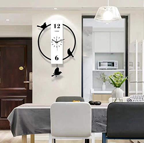 LJJYF Reloj de Pared del Reloj del Norte de Europa, Reloj de Cuarzo de Sala @ Blanco,Decoración para la Casa Oficina Hotel Restaurante