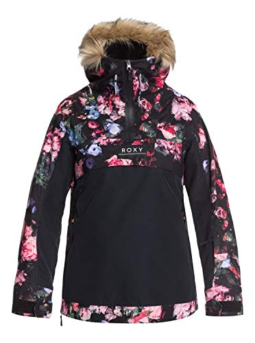Roxy Damen Schneejacke Shelter - Schneejacke für Frauen, true black blooming party, L, ERJTJ03262