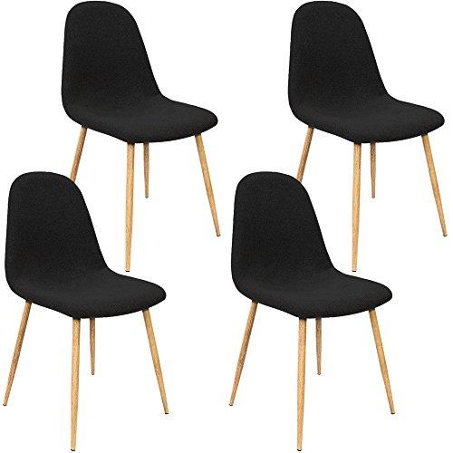 Deuba Set de 4 Sillas de Comedor diseno Retro clasico ergonomico Patas de Aspecto de Madera 44x87x47cm Pack 4 sillas Cocina