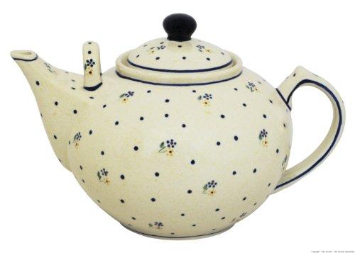 Original Bunzlauer Keramik - sehr große Teekanne/Kaffeekanne - 2.9 Liter mit zweitem Henkel im Dekor 111