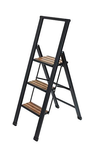 WENKO Alu-Design Klapptrittleiter 3-stufig Schwarz - rutschfeste Haushaltsleiter, Sicherheits-Stehleiter, Aluminium beschichtet, 44 x 127 x 5.5 cm, Schwarz