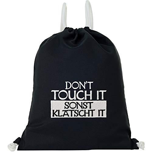 Bolsa de deporte impermeable negra con texto en inglés 'Don't Touch IT SONST' KlATSCHT IT GYMsack hombre Gym Bag hipster bolsa resistente bolsa de deporte mochila mujer