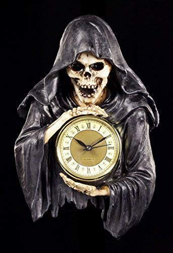 Reaper Wanduhr - Die dunkelste Stunde | Sensenmann Deko Figur Skelett Totenkopf Uhr Gothic
