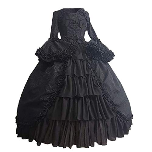 VEKDONE Women Medieval Renaissance Costume Dress Halloween Cosplay Gothic Princess Sweet Lolita Dress(Black,Small)