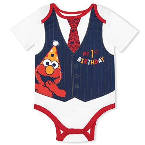 Sesame Street Elmo 1st Birthday Outfit, Cute Birthday Infant Baby Boy Onesies