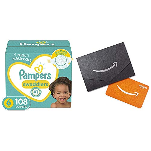 Pampers Swaddlers Disposable Baby Diapers - Size 6, 108 Count, ONE Month Supply + $10 Amazon.com Gift Card