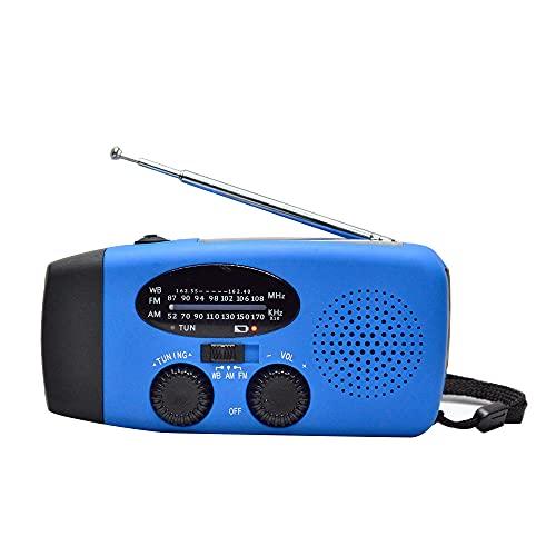 ラジオ太陽の緊急ラジオ、携帯用三重照明懐中電灯、クランクハンドル、USB充電ケーブル,ブルー