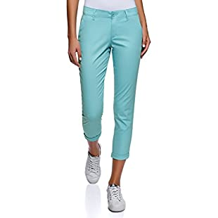 oodji Ultra Women's Cotton Chino Pants, Turquoise, UK 12 / EU 42 / L