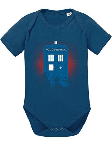 Doctor Zombie Line Who Box time Police Space dr tv Baby Strampler Body, Größe:80;Farbe:Navy