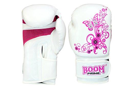 Boom Prime Guantoni da boxe, da donna, in pelle Rex, da 6 - 14 once, per sparring, palestra, kickboxing, allenamento al sacco, MMA, donna