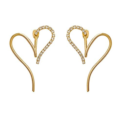 s925 Silver Stud Earrings for Women,Love fashion five-pointed star golden earrings