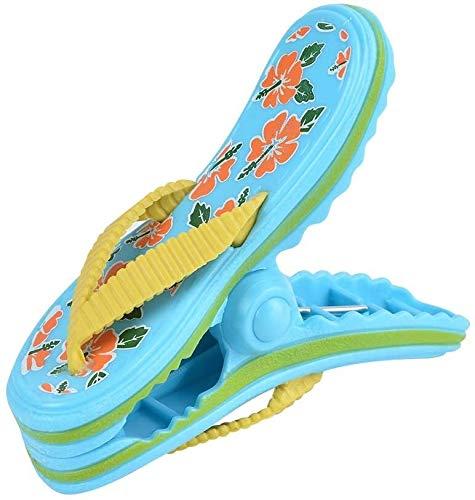 Detazhi Clips de plástico Tumbona Toalla de Playa Clips de la Novedad de Viento Tumbona Clavijas Piscina Pinzas de Campo (14 * 9 cm, sandía-Rojo) (Color : Slippers-Blue, Size : 14 * 9cm)