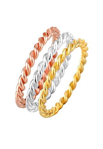 Elli Ring Elli Damen Ring Tricolor Set Gedreht in 925 Sterling Silber vergoldet