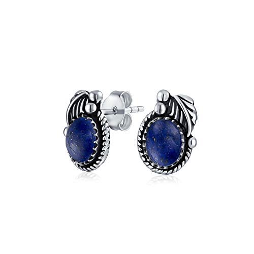 Azul Lapislázuli Piedras Preciosa Moldura Redonda Hoja Filo Cuerda Pendiente Bisel Boton Mujer 925 Joyería Plata Oxidada