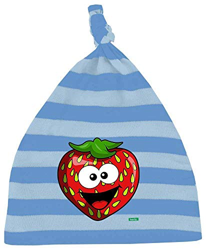 Hariz - Gorro para bebé, diseño de rayas, fresa, salmón, fruta, dulce, tarjetas de regalo azul Azul/cielo azul claro.