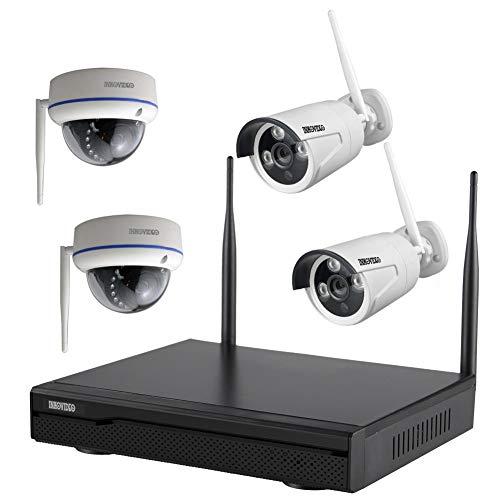 Komplettset WLAN-Set / 4-Kanal Netzwerkrekorder 2 x Bullet und 2 x Dome HD Überwachungskamera (Netzwerkkamera)