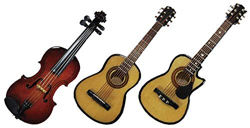 Miniature Replica Musical Instruments 3D Mganets Set of 3 with Present Boxes (Violin, Acoustic and Folk Guitar)