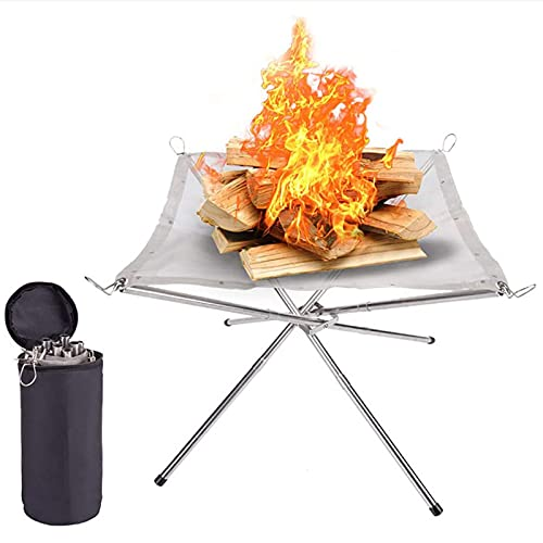 Hengqiyuan Portable Outdoor Fire Pits for Garden Foldable Stainless Steel Mesh Fire Bowl Campfire Outdoor Heater Fire Pit Fireplace Fire Basket Fireplace with Carrying Bag Easy Storage,Silver
