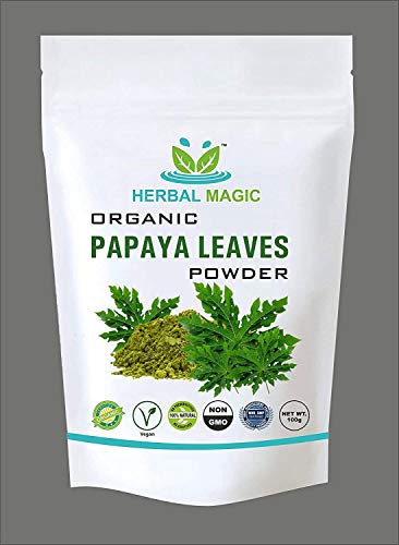Please Select one - Certified Organic Papaya Leaf Powder (100g) or Capsule (60) - Full Spectrum Platelets Immunity Digestion with Vitamin C A Calcium Iron - Whole Plant Used (Powder)