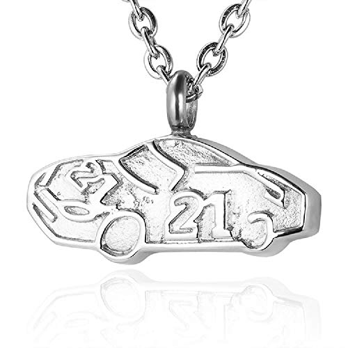 Heartfelt Race Car Cremation Jewelry Necklace Urn Memorial Keepsake Pendant for Ashes with Funnel Fill Kit