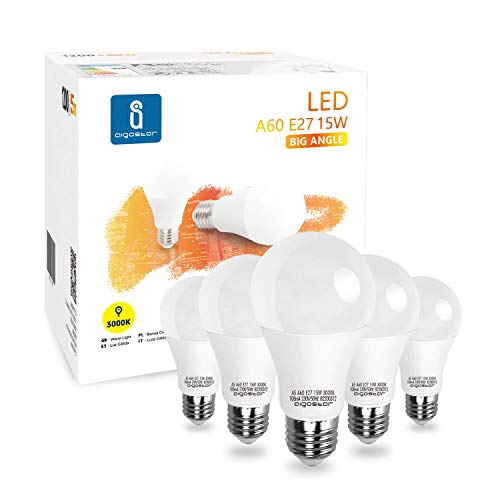 Led E27 Warmweiß 15W Leuchtmittel Birne Lampe 3000K 1200 Lumen Abstrahlwinkel 280 Grad A60 Glühbirnen Tropfen 5 Stücke Energiesparend
