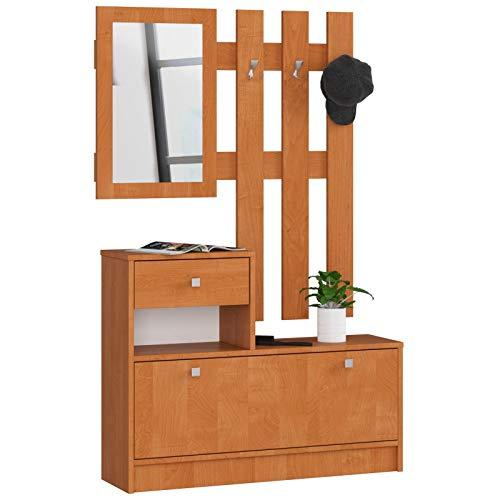 ADGO Muebles de madera para pasillo, 90 x 70/100 x 25 cm, zapatero, percha, cajón, espejo, vestidor, 4 colores (arle)