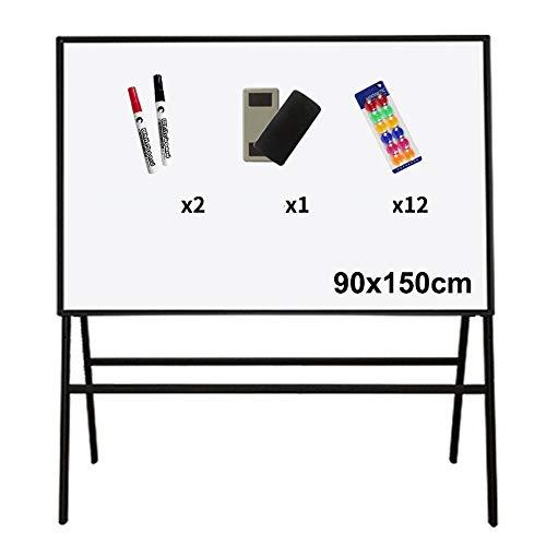 Tableaux blancs Portable magnétique Conseil de démonstration réglable, Bureau d'aide enseignement d'écriture permanent Chevalet stand-2 effaçables Stylos, 1 Gommes Tableau noir et 12 boutons magnétiqu