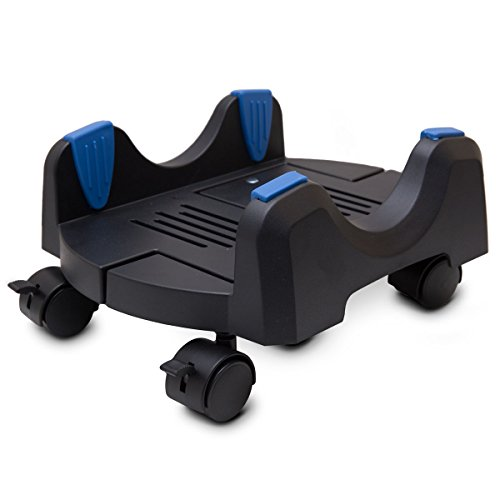 """I/O CREST Plastic Computer Floor Stand for ATX Case with Adjustable Width from 6.9"""" to 12"""" with Locking Caster Wheels"""