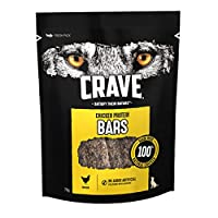 CRAVE dog treat Chicken Protein Bar is made with 100 Percent natural chicken CRAVE Chicken Protein Bars are made with no artificial colours or flavours CRAVE Chicken Protein Bars come in a fresh resealable pack to help keep your dog chews fresh Premi...