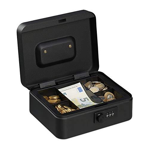 Relaxdays Geldkassette, 3-stellige Zahlenkombination, Münzeinsatz, Geldkasten Eisen, Kasse, HBT 8,5x20x17 cm, schwarz, 8,5 x 20 x 17 cm