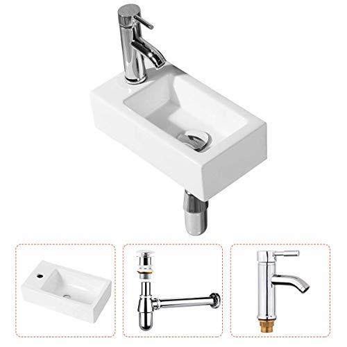 Handwaschbecken Klein, Gimify Mini Waschbecken zur Wandmontage aus Keramik Badezimmer (Set Linke Hand)