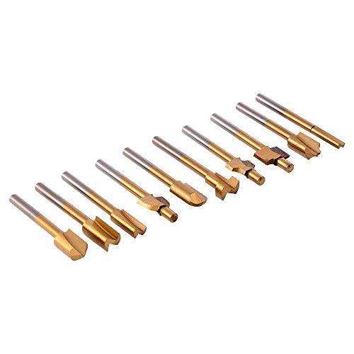 10 PCS de FSS Enrutamiento Fresas Titanio Chapado Paraca Dremel Herramienta rotativa Grabado Tratamiento de la madera Set