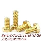 100 boulons hexagonaux M4 x 8/10/12/16/20/25/30/35/40 en laiton M4 x 40 mm.