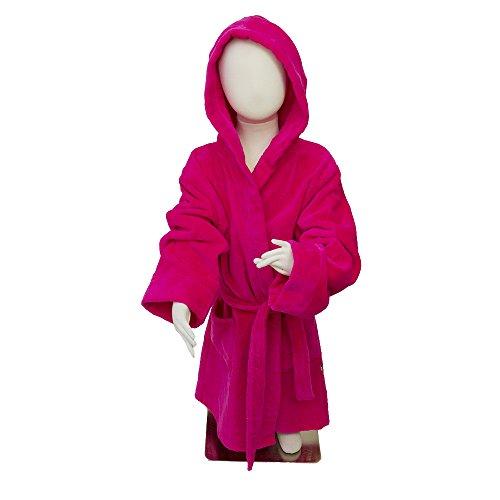 Rose vif en velours Robe avec capuche