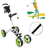 Xyfw Empujar El Carro De Golf Carro De Golf, 4 Ruedas Plegable Golf Push Cart con El Sostenedor De La Bebida Paraguas Cuadro De Mando