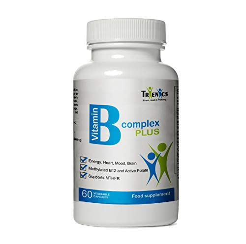 High Strength Vitamin B Complex PLUS – active Folate, Methylcobalamin B12, B5, B6, Vit C, D3, Magnesium, Zinc, Choline, Boost Immune System, for Energy, Heart, Mood