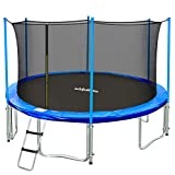 Zupapa 15FT 14FT 12FT TUV Approved Kids Trampoline with Enclosure net, Ladder Pole Safety Pad Jumping Mat Spring Pull T-Hook, Include All Accessories, Great Outdoor Backyard Trampoline (15FT)