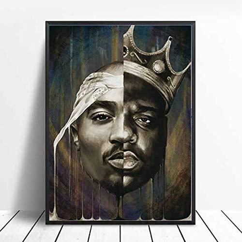 PHhomedecor 2Pac Notorious Big Biggie Poster Tupac Shakur Posters E Impresiones Cuadro De Arte De Pared Pintura De Lienzo Moderna Decoración del Hogar,50X70Cm Sin Marco,Ph-162