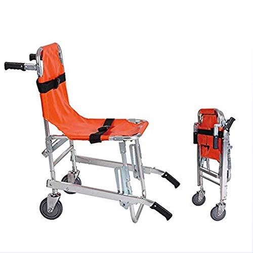 GLJY EMS Treppenstuhl aus Aluminiumlegierung - Leichtgewichtiger, zusammenklappbarer Rettungswagen-Feuerwehrmann-Evakuierungsstuhl für Rettungswagen mit Schnellverschluss, orange