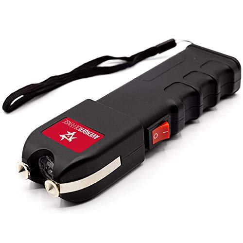 Avenger Defense ADS-10 – Portable Stun Gun – Extremely Powerful Rechargeable Stun Gun for Self Defense and Protection – Built-In LED Flashlight and Carrying Case – Intimidating and Comfortable Design