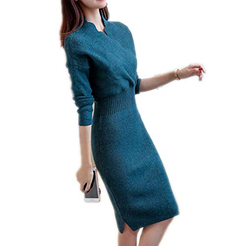 Hi-WISH Sweater Dress for Woman Autumn Waist-Controlled Design Knitted Pullover Long Sleeve V-Neck Pull Navy Blue L