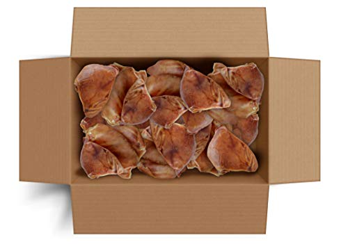 Canine Butcher Shop All-Natural Jumbo USA Pig Ears for Dogs, 30-Count Box - Born, Raised & Made in USA Since 1996