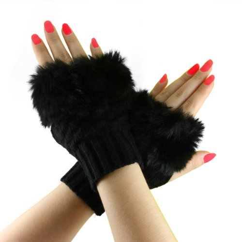 Bao Xin Design Stylish Fluffy Knitted Mitten for Beauty Wrist & Forearm Wrap Cold Proof, Weave Fingerless Glove (Short, Black)