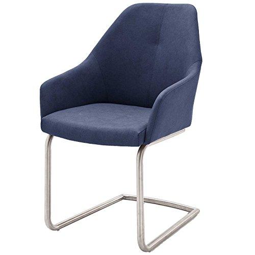 MÖBEL IDEAL Schwingstuhl Set 2X Stuhl Mita in Blau Schwarz Beige oder Grau Armlehnstuhl mit Esszimmerstuhl Edelstahl gebürstet