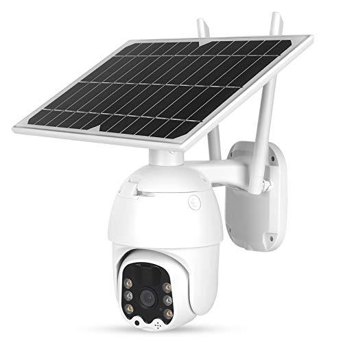 Cámara WiFi PTZ 1080P para exteriores, cámara de seguridad con panel solar, cámara CCTV de visión nocturna a todo color con detección de movimiento PIR, resistente al agua, para seguridad en el hogar